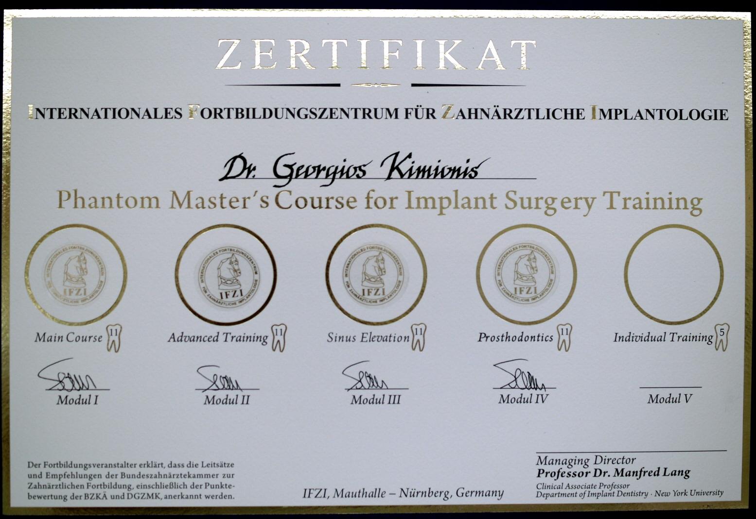 Ο Αλέξανδρος Κιμιωνής στο Phantom Master's Course for Implant Surgery Training του διεθνούς εκπαιδευτικού κέντρου εμφυτευματολογίας IFZI
